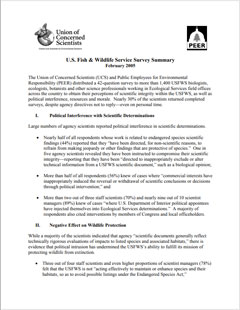 First page of summary of 2005 UCS survey of US Fish and Wildlife Service scientists