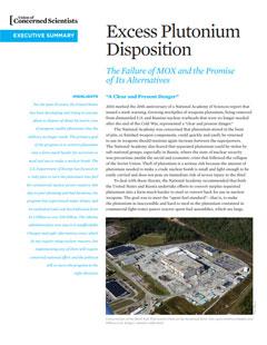 Cover of Excess Plutonium Disposition report