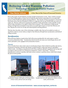 Cover of report on reducing global warming pollution from tractor-trailers