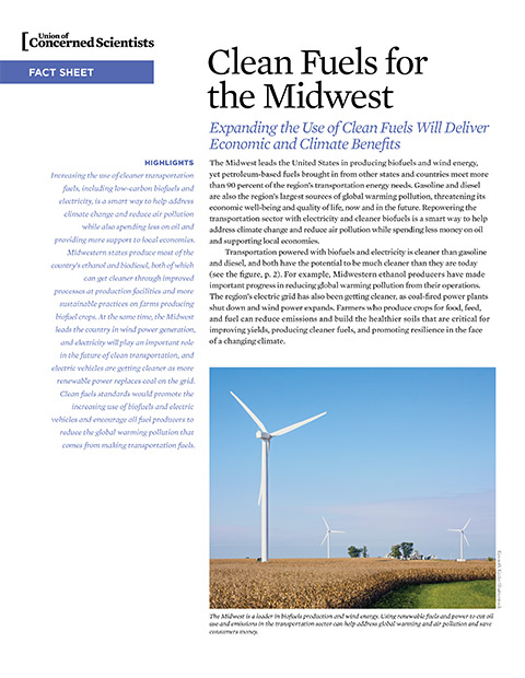 Cover image of fact sheet for Clean Fuels in the Midwest