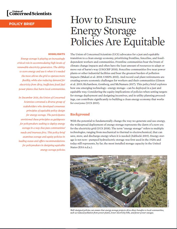 Cover image Equitable Energy Storage Policy Brief