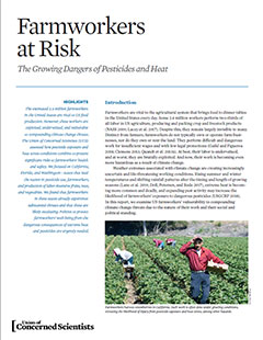 Cover of Farmworkers at Risk report from the Union of Concerned Scientists