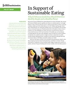Cover of UCS policy brief, In Support of Sustainable Eating