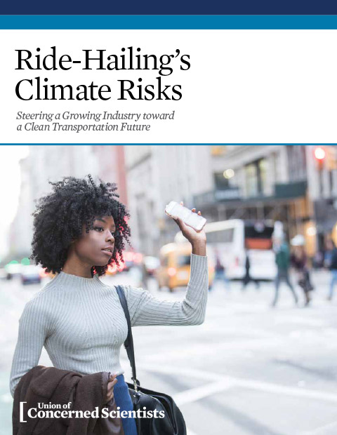 Cover page of ride-hailing's climate risks report by UCS