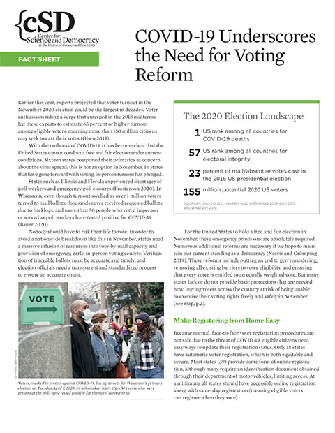 cover of COVID-19 and voting national fact sheet