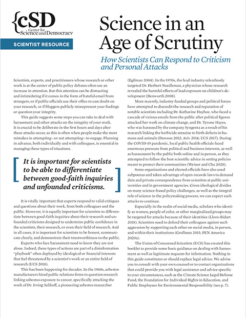 Cover of 2020 UCS resource, Science in an Age of Scrutiny