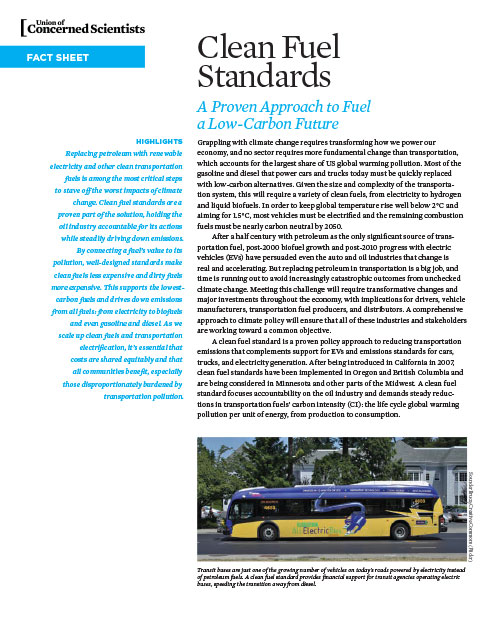 Cover of clean fuel standards fact sheet