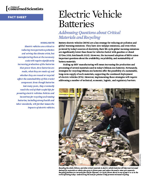 the cover of a UCS fact sheet on electric vehicle batteries