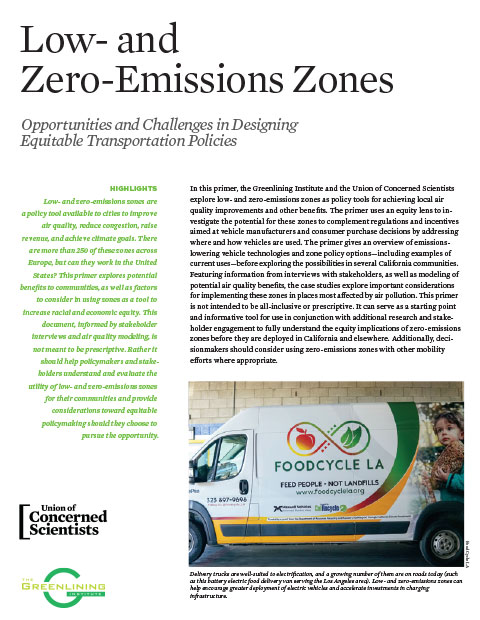 cover of low and zero emissions zones report