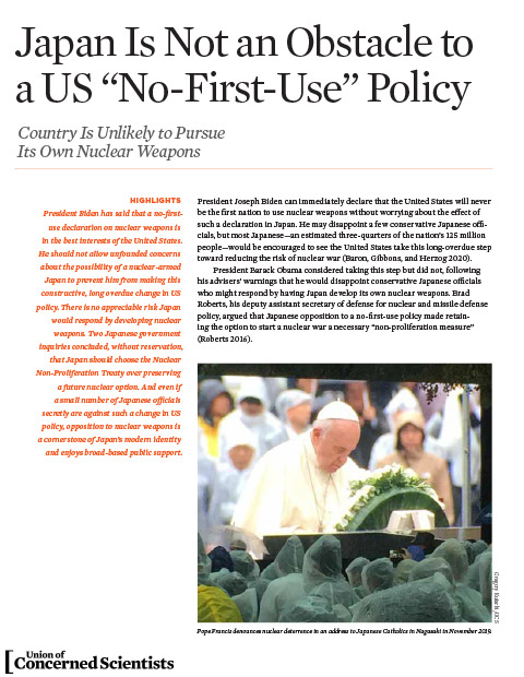 Cover of Japan is not an Obstacle to a US No First Use Policy