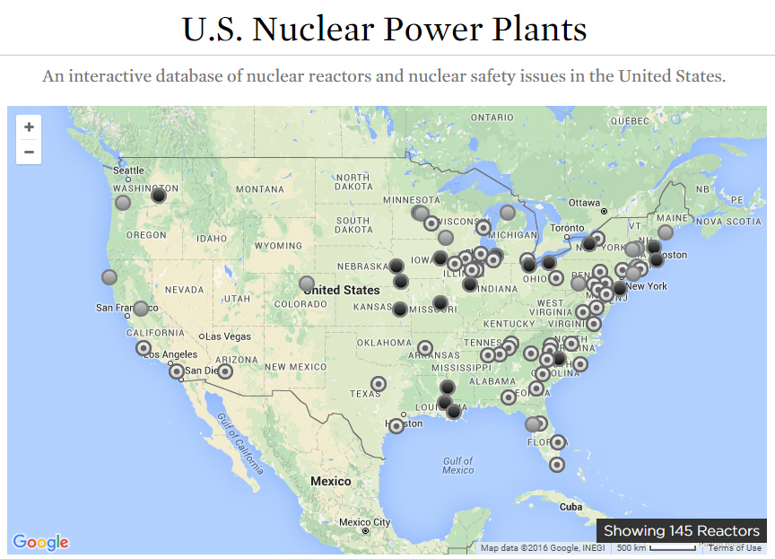 Near Misses At US Nuclear Power Plants In Union Of - Map nuclear power plants in us