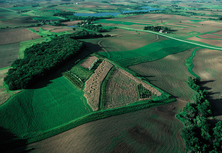 Aerial photo of farm landscape showing conservation practices