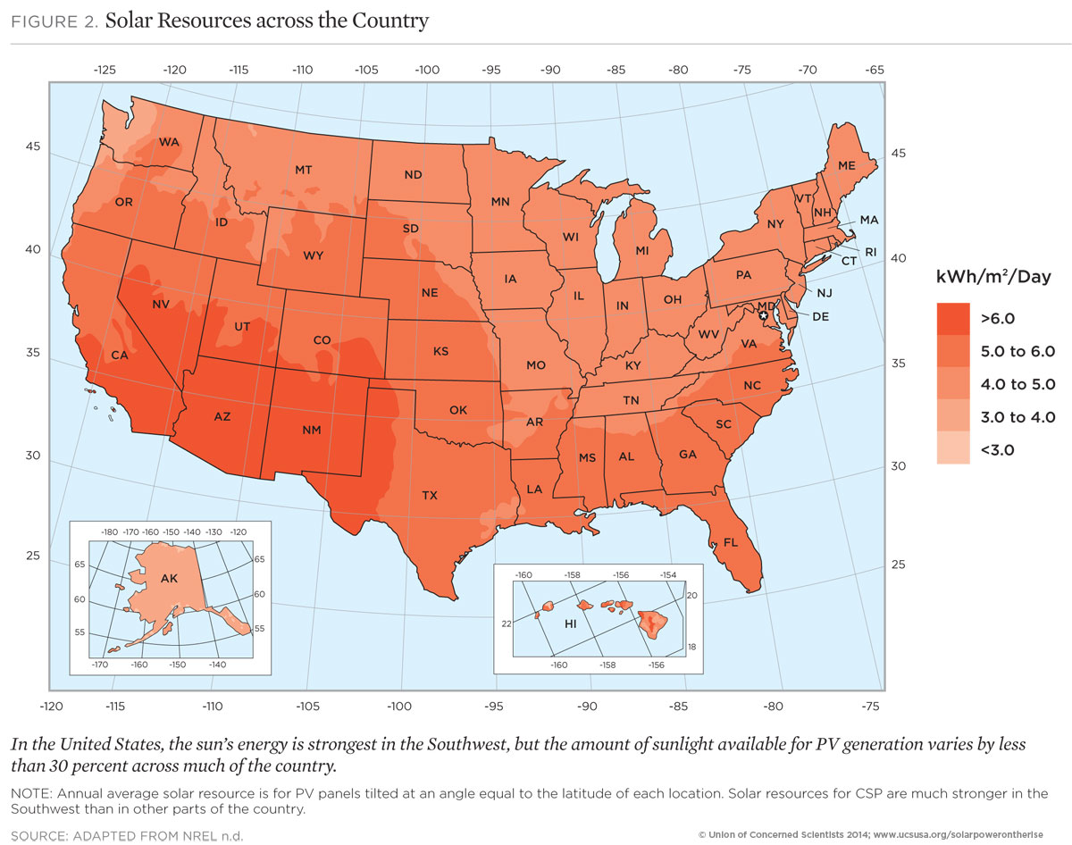 Solar Power On The Rise The Technologies And Policies Behind A - Solar power map us
