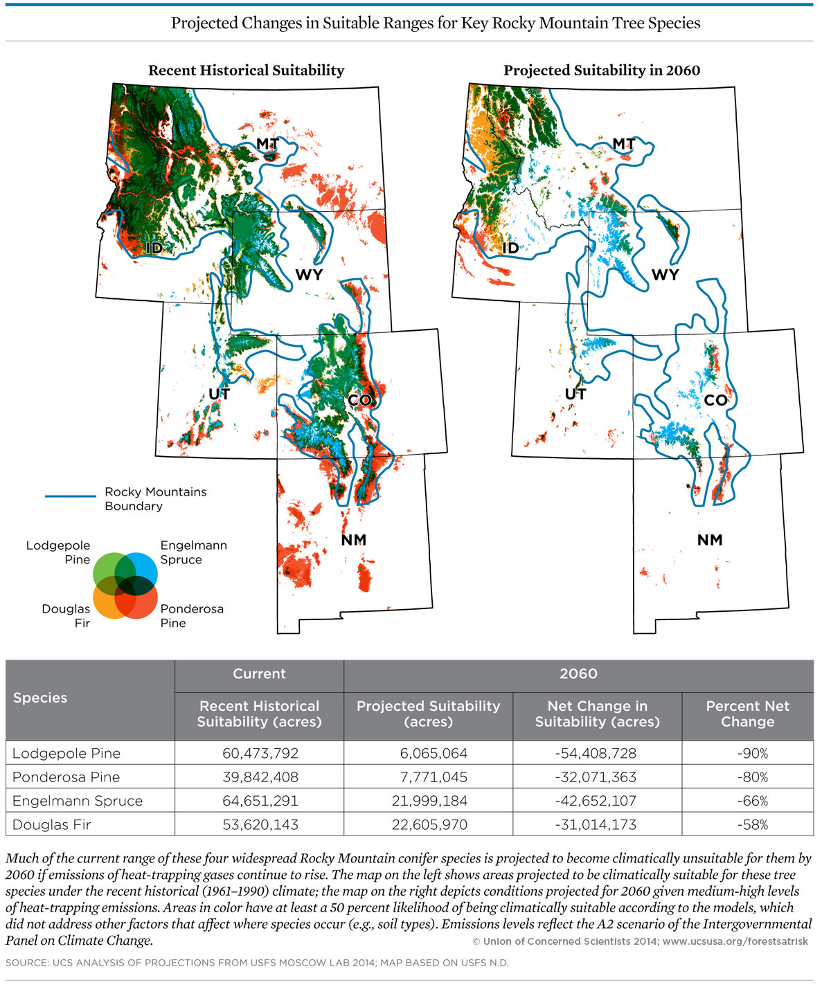 Rocky Mountain Forests At Risk Union Of Concerned Scientists - Map of us rocky mountains