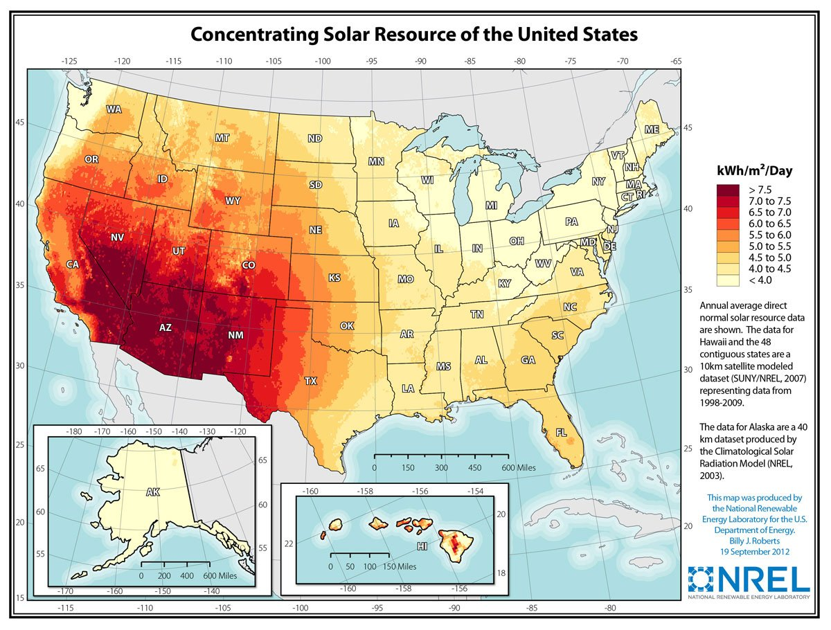 Map of Concentrating Solar Resource in the U.S.