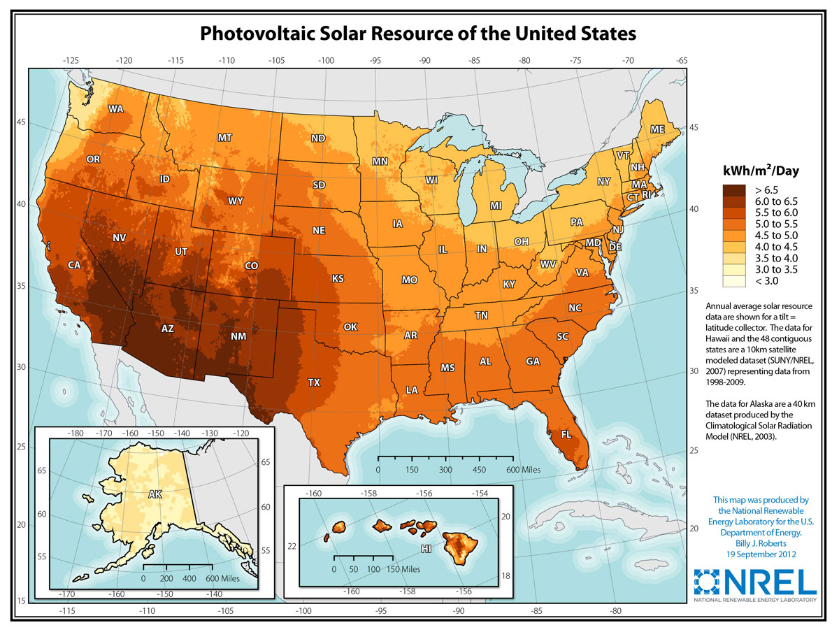 The Solar Resource Union Of Concerned Scientists - Us map number of days of sunshine