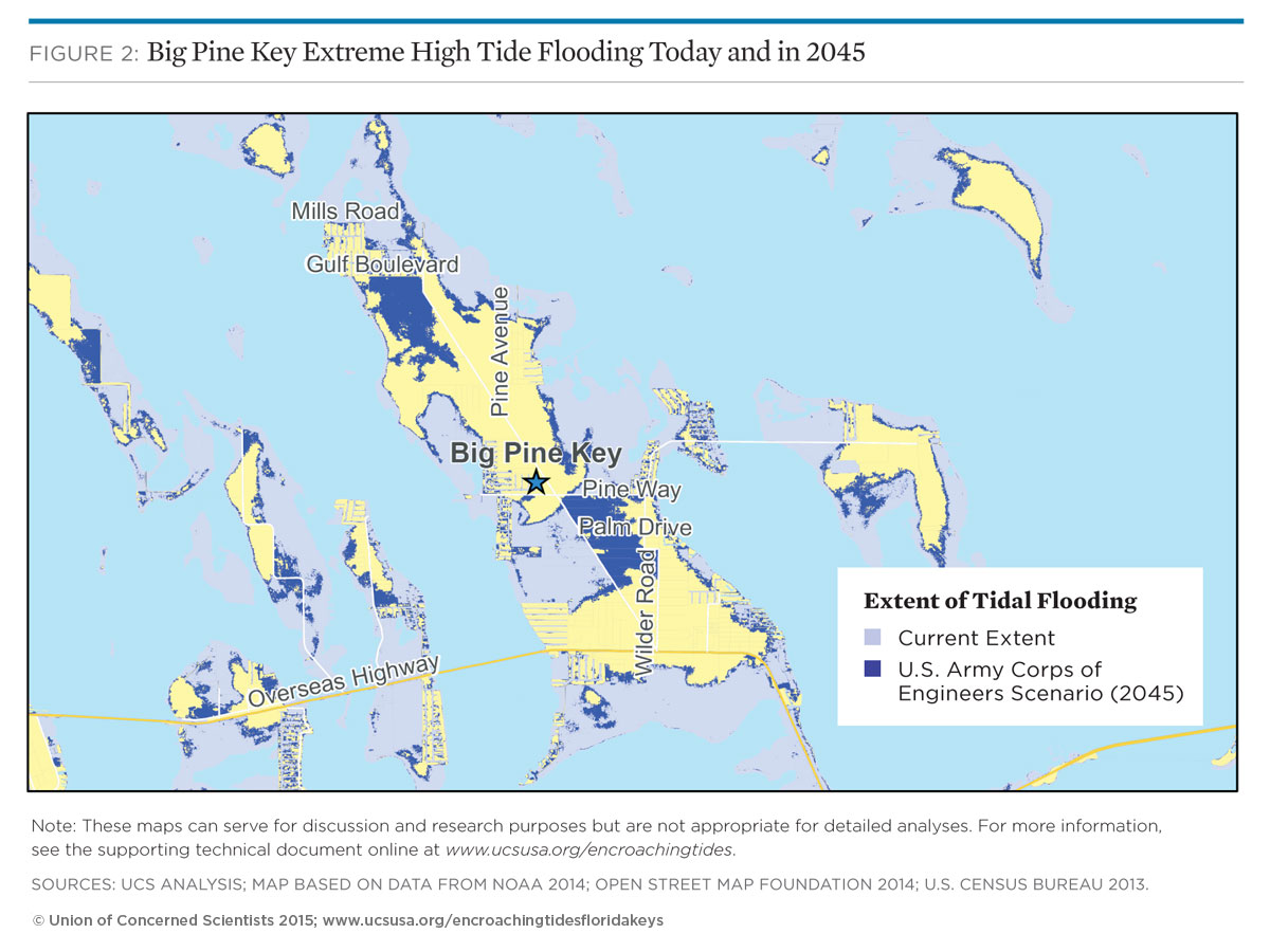 Map of tidal flooding in pine key florida