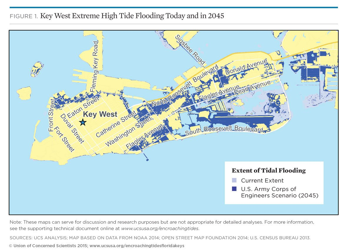 Tidal Flooding And Sea Level Rise In The Florida Keys - Florida map key west
