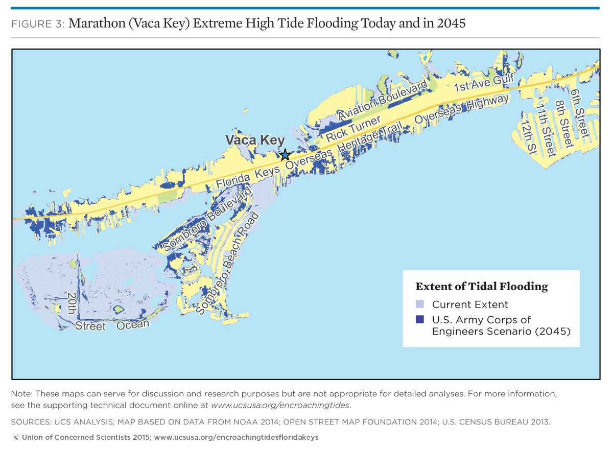 map of tidal flooding in marathon vaca key florida
