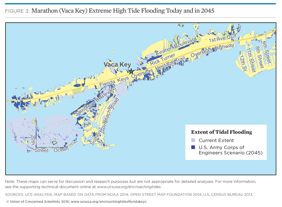 Map of tidal flooding in marathon (vaca) key florida