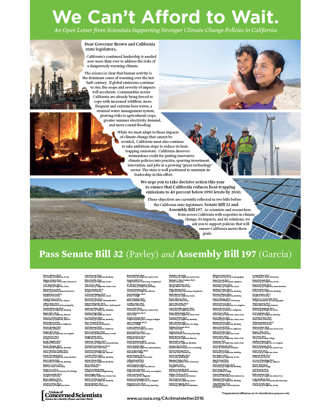 144 scientists, economists, and other scholars are urging passage of two climate change bills before the California Legislature, Senate Bill 32 (Pavley) and Assembly Bill 197 (E. Garcia).