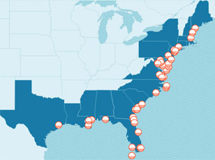 map of locations at risk from sea level rise union of concerned scientists