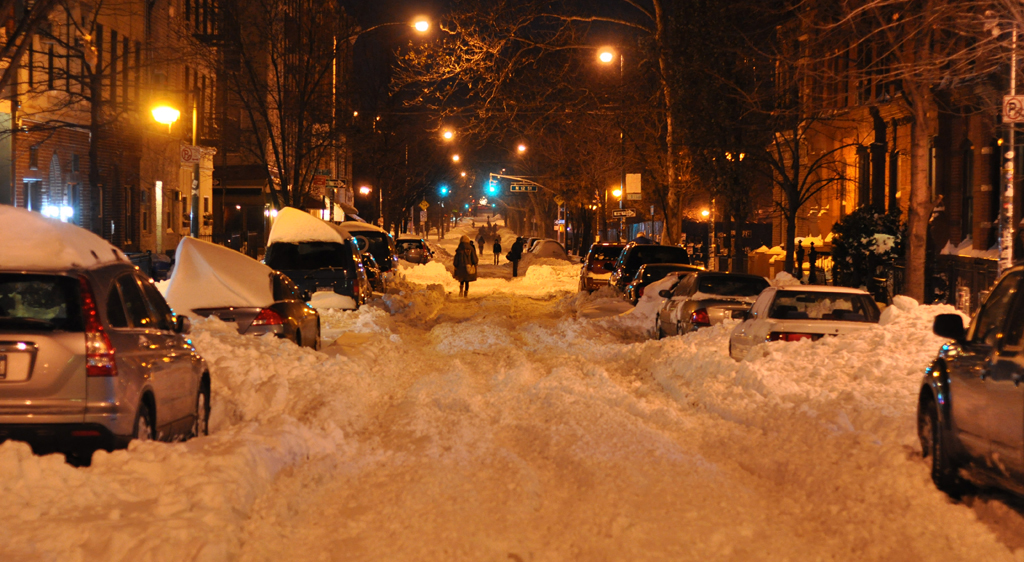 Street in Brooklyn after a blizzard
