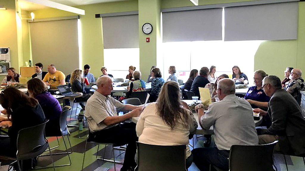 Community members in Riley County, Kansas, meet to discuss food system needs