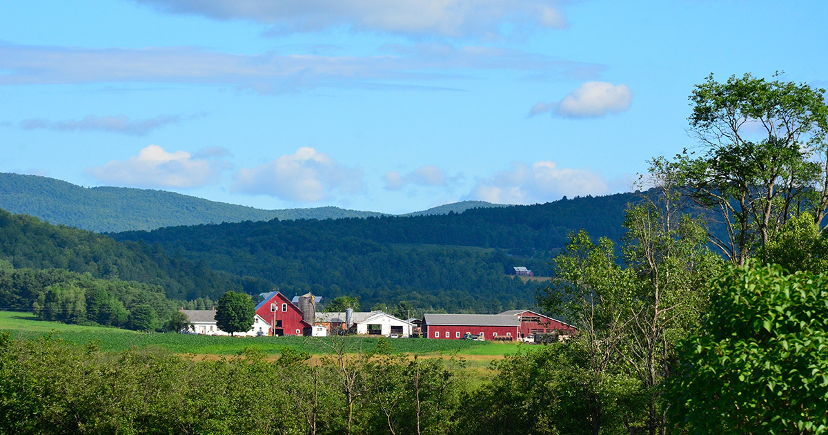 A farm landscape in Vermont