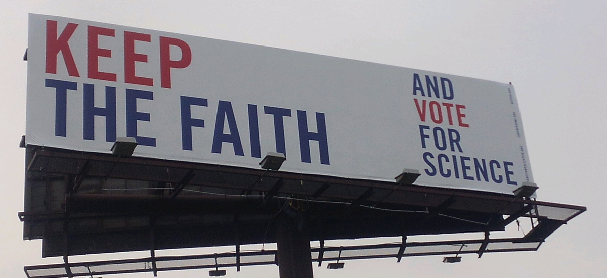 hope for the best and vote for science billboard