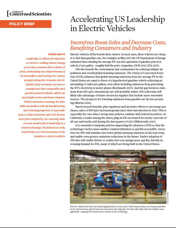 Electric Car Incentives >> Accelerating Us Leadership In Electric Vehicles Union Of