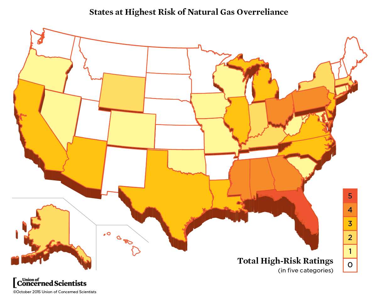 Rating The States On Their Risk Of Natural Gas Overreliance - Map potential natural gas in us