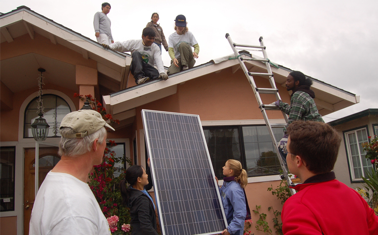 Solar cells going on a low-income household