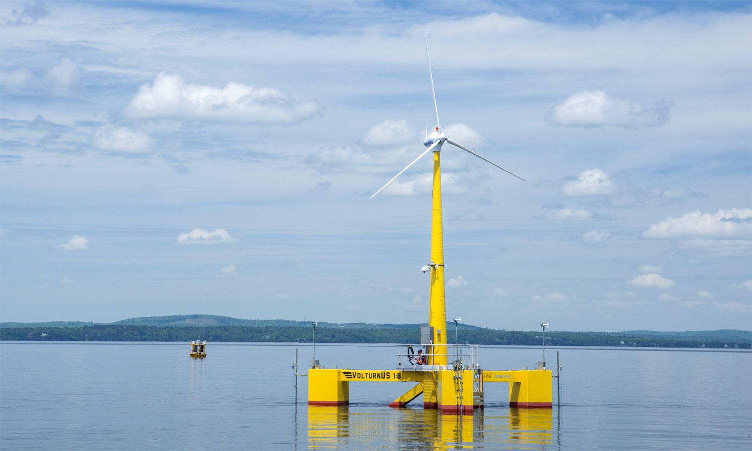 An offshore wind turbine off the coast of Maine