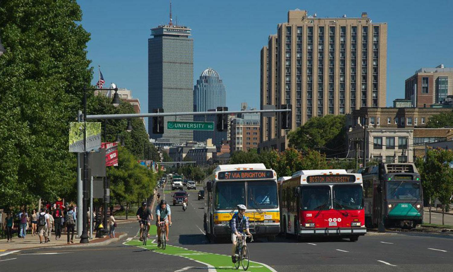 Multimodal transportation on Boston's Commonwealth Avenue