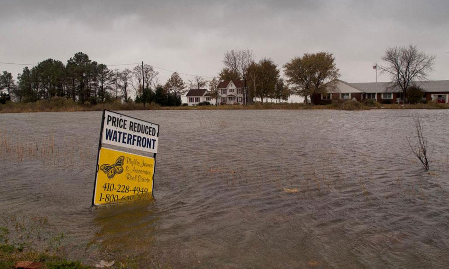 A waterfront property for sale sign submerged in flood waters