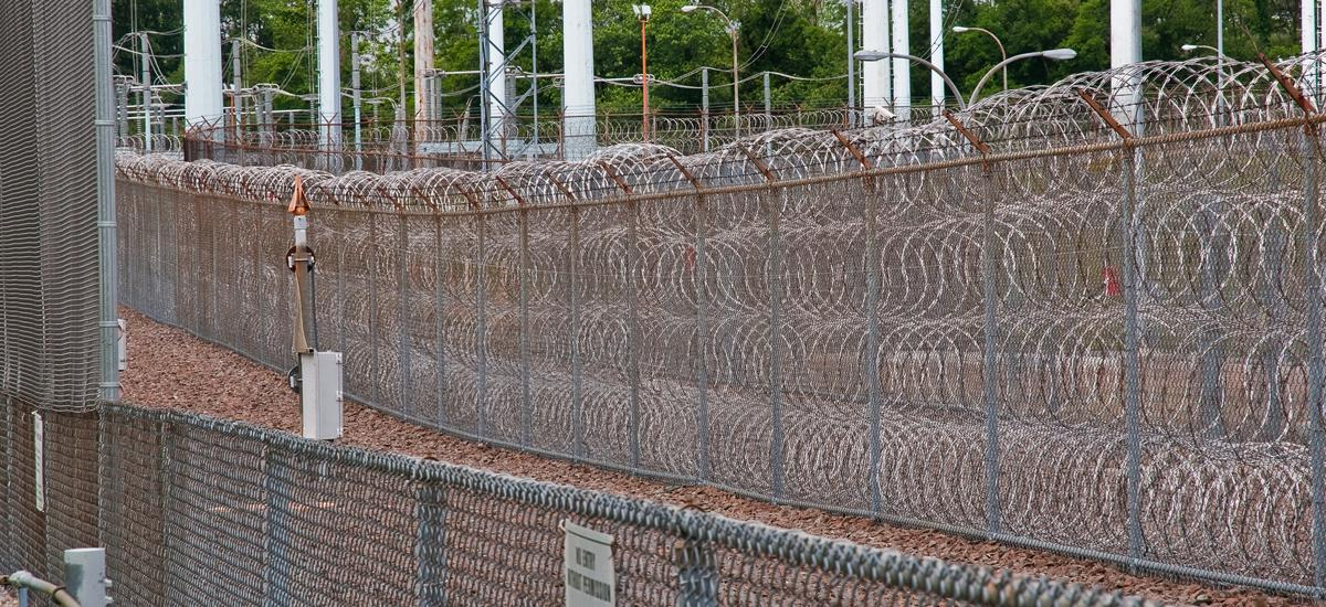 Security fences at a U.S. nuclear reactor.