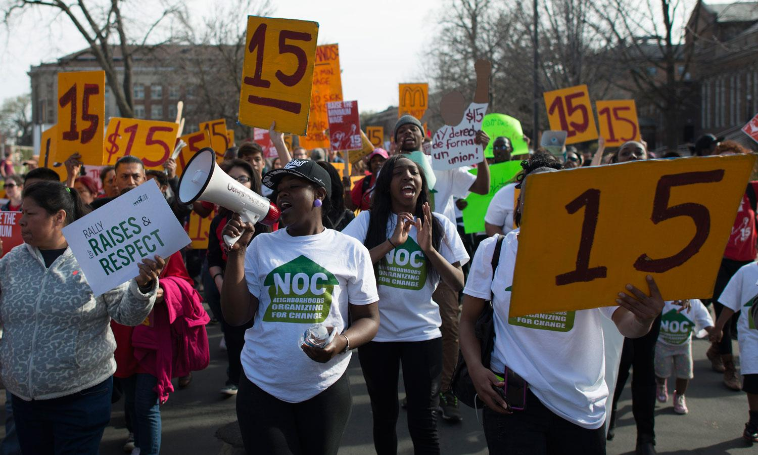 Food workers at a demonstration for a $15/hour wage