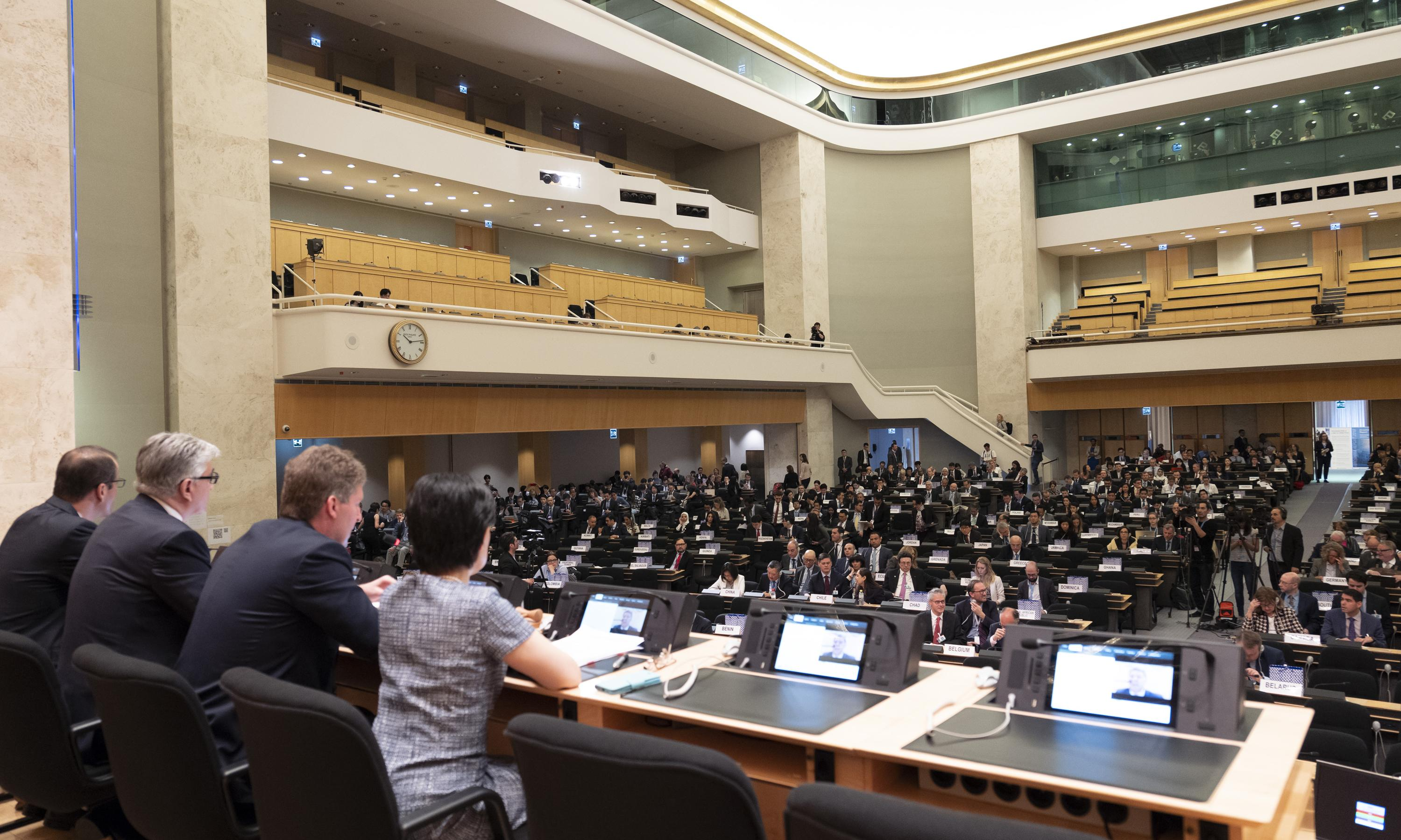 An over the shoulder view during the opening session of the Treat of the Non-Proliferation of Nuclear Weapons.