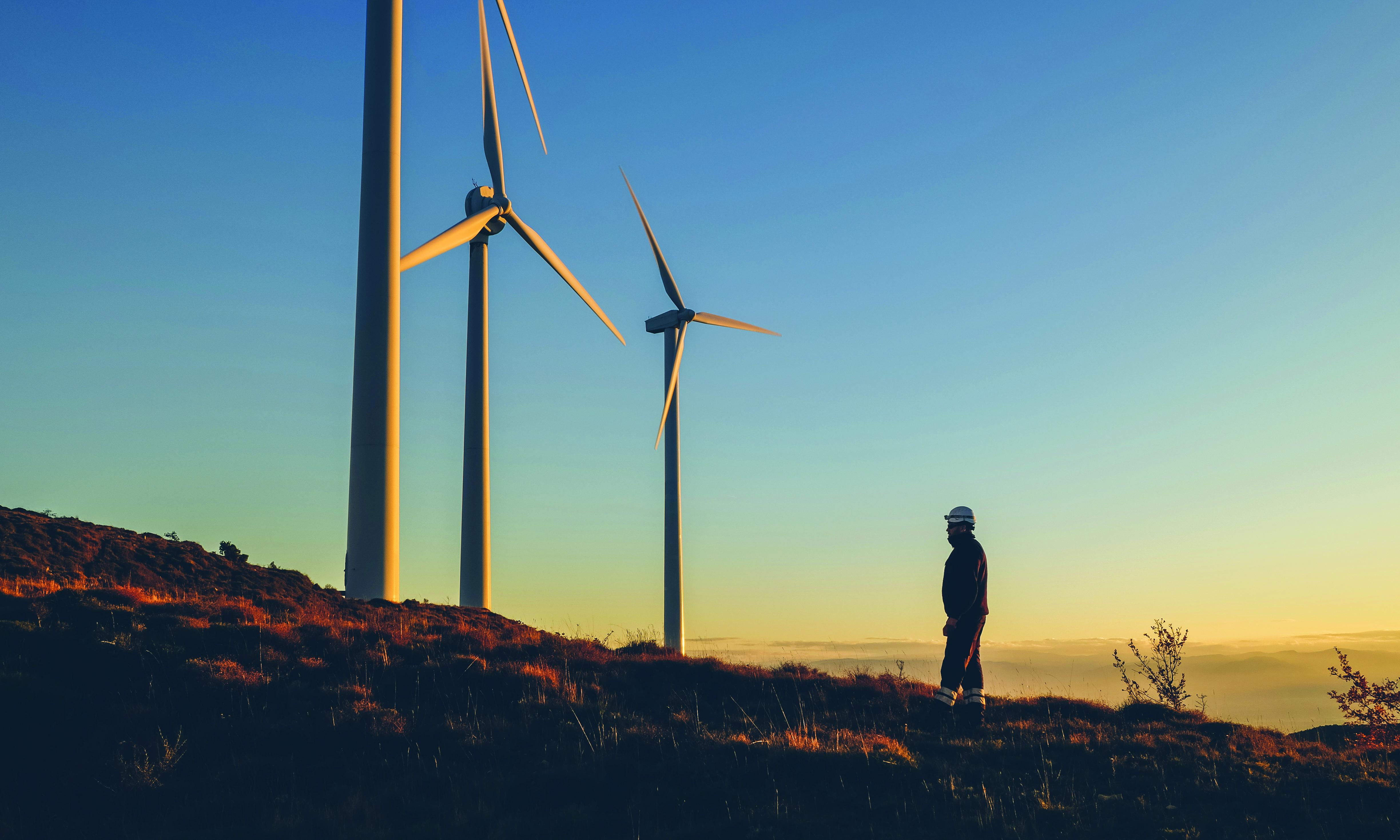 A worker is facing wind turbines