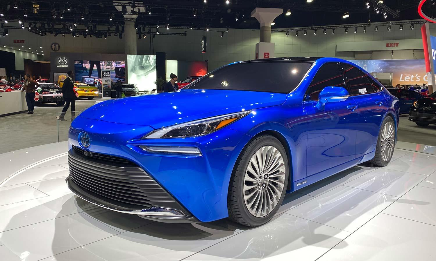 blue Toyota FCEV at the 2019 LA auto show