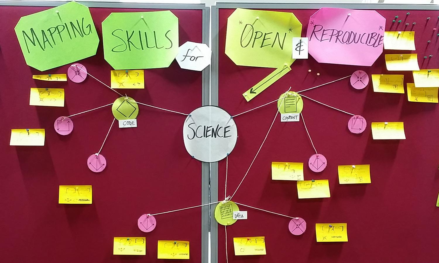 Bulletin board with idea map of science skills