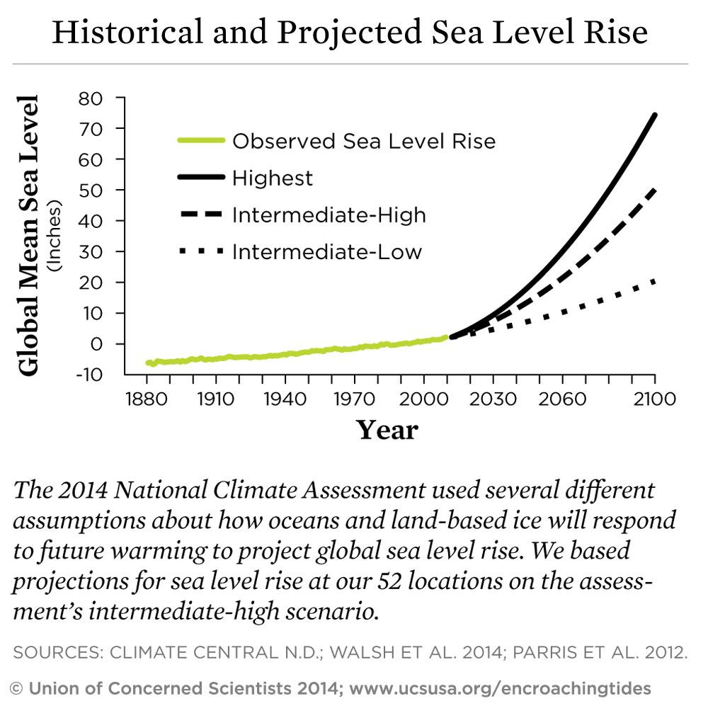 Graph showing possible sea level rise scenarios