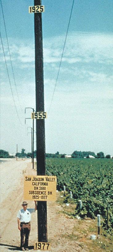 Photo from the 1970s documenting land subsidence from groundwater withdrawal in California's San Joaquin Valley.