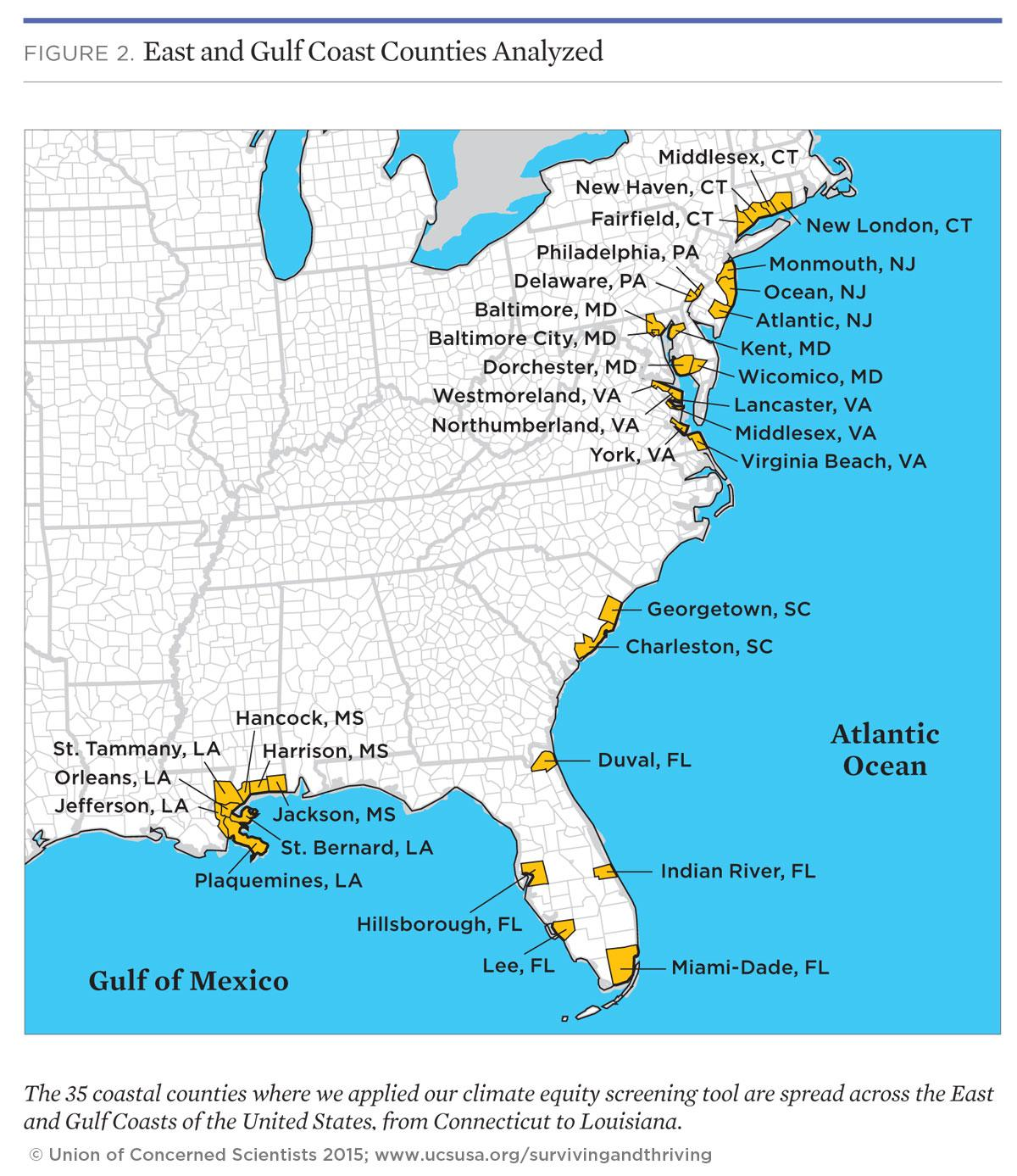 Map of equity hot spots for sea level rise impacts on the Atlantic and Gulf coasts