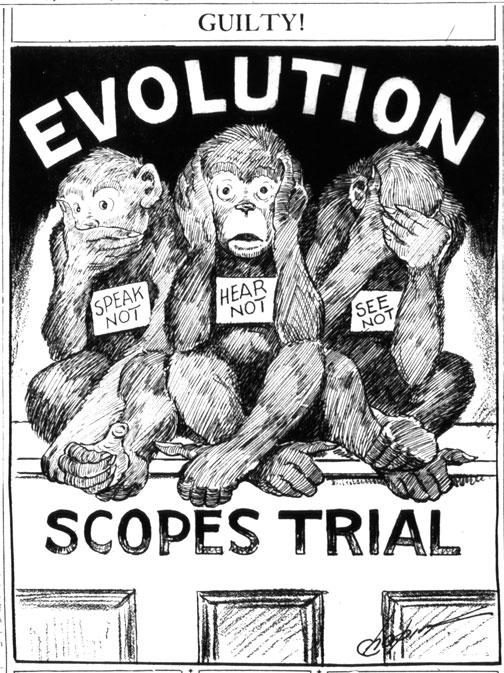 "A cartoon showing three monkeys with the labels ""speak not,"" ""hear not,"" and ""see not."""