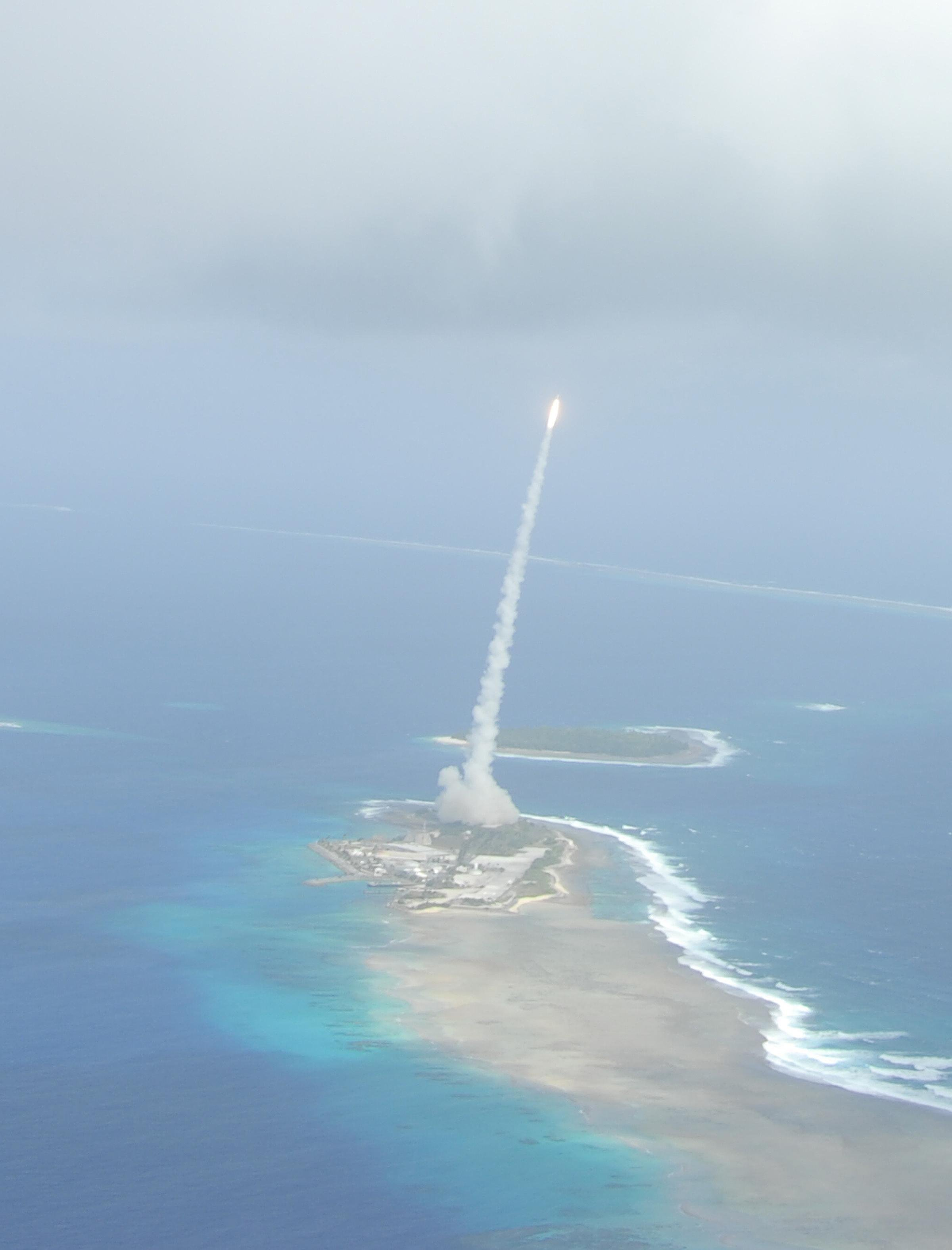 A missile being launched.