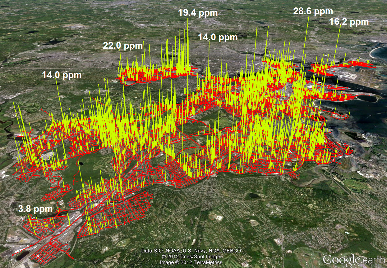 A map showing methane leaks in Boston.