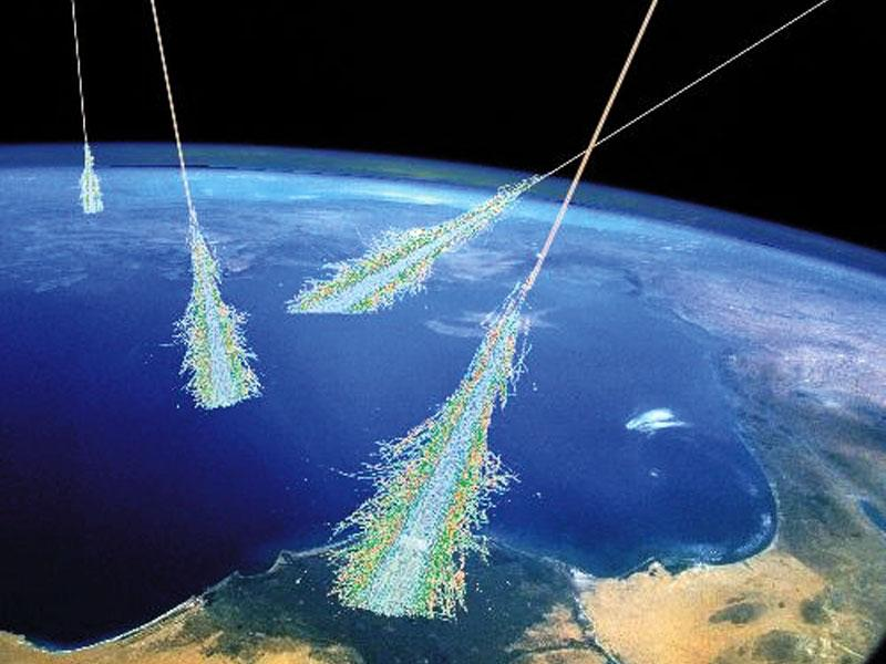 An illustration of cosmic rays