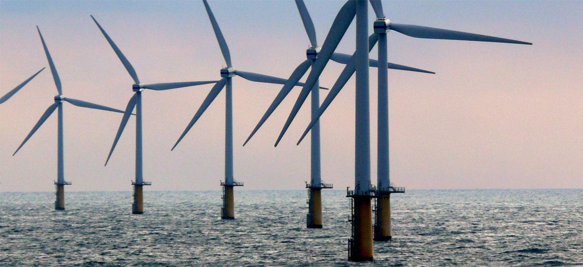 group of offshore wind turbines